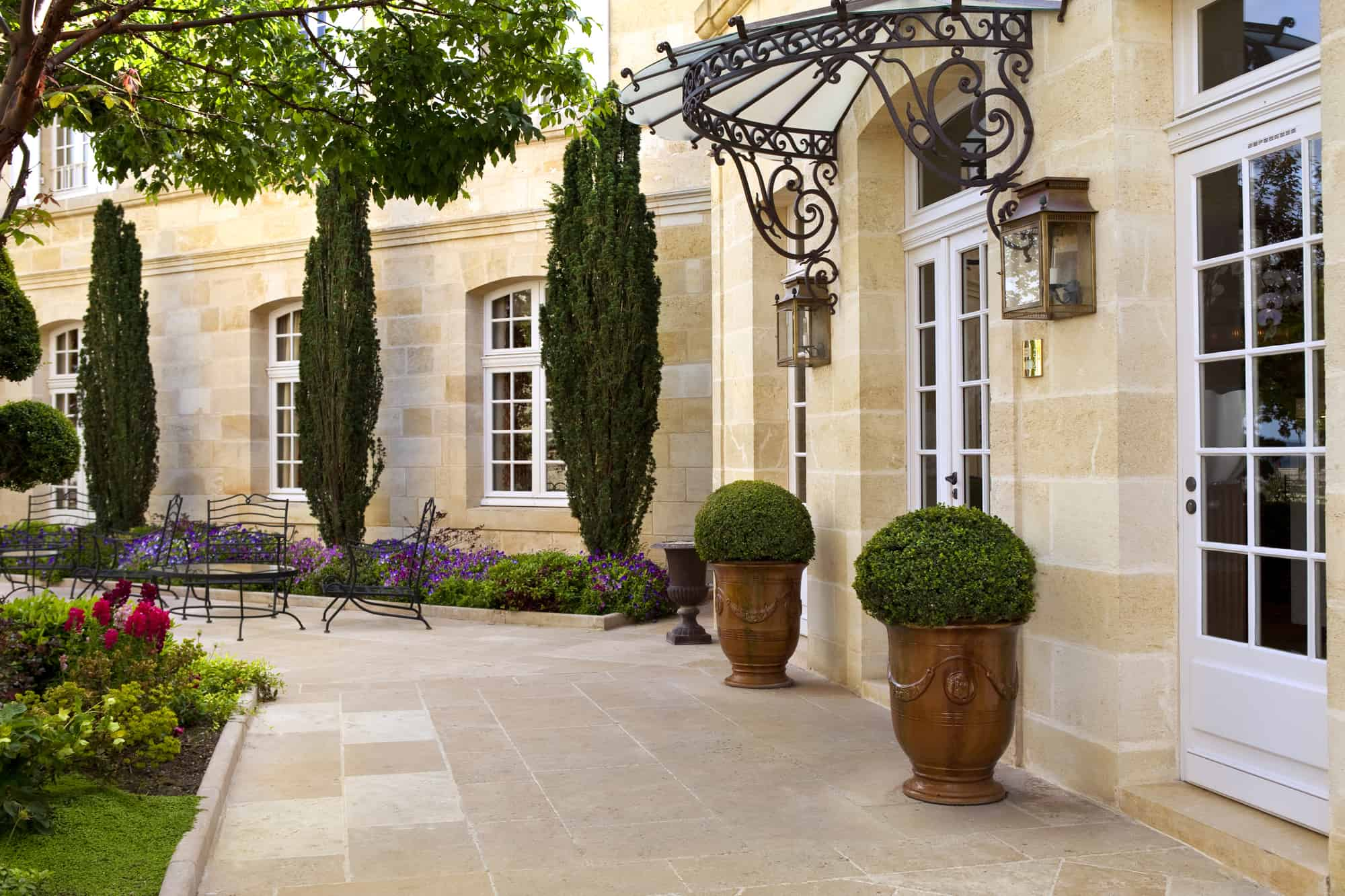Terrace and garden of a French mansion